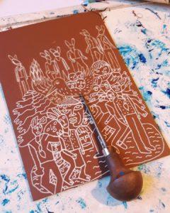 fred mazere lino gravure